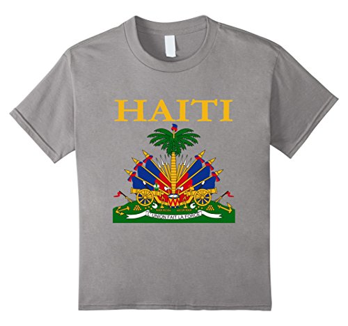 Kids Haitian Coat Of Arms T-Shirt Haiti Emblem Symbol Shirt 8 (Haiti Coat)