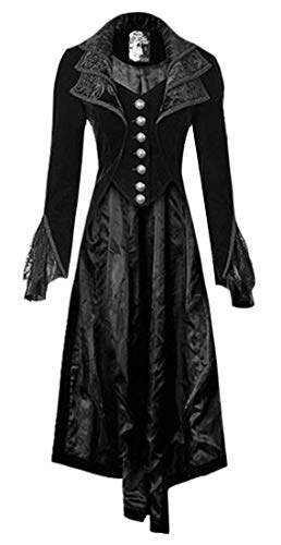 ilcoat Steampunk Jacket Tuxedo Suit Coat Victorian Trench Coats Black 2XL ()