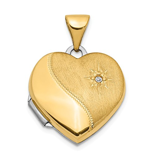 ICE CARATS 14kt Two Tone Yellow Gold 15mm Reversible Diamond Heart Photo Pendant Charm Locket Chain Necklace That Holds Pictures Fine Jewelry Ideal Gifts For Women Gift Set From Heart -