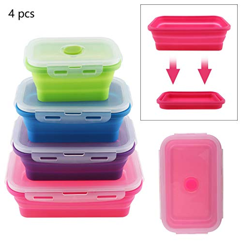 4pcs Portable Rectangle Silicone Lunchbox Scalable Folding B