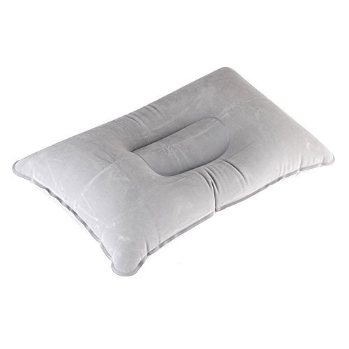 TOOGOO(R) Double Sided Flocking Inflatable Pillow Suede Fabric Cushion Camping Travel Outdoor Office Plane Hotel Portable Folding