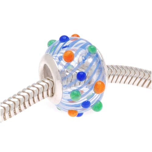 Lightweight Hand Blown Clear Glass Bead Bumpy Blue Green Orange - European Style Large Hole 14mm (1) (Hand Blown Glass Round Beads)