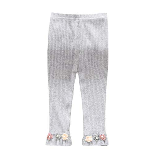 Pants Flower Knit - Appoi Baby Tights Toddler Leggings for Baby Girls Flowers Trim Seamless Knit Cotton Pants Stockings (Gray, 18-24 Months)