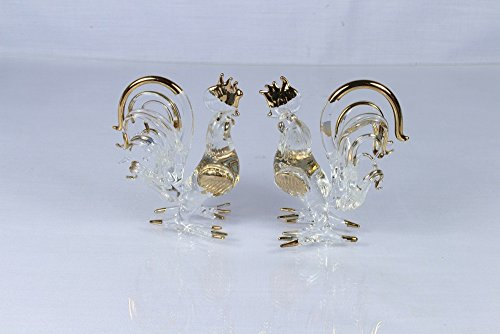 Hand Blown Glass Painting Handmade Decorations for Homes, Office,party. Roosters Art Glass (2 Pcs.)