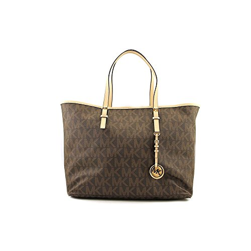 MICHAEL Michael Kors JET SET TRAVEL LOGO Tote,Brown,One Size