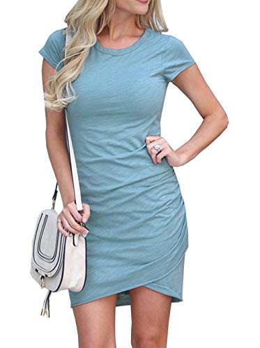 BTFBM Women's 2019 Casual Crew Neck Ruched Stretchy Bodycon T Shirt Short Mini Dress (104Blue, Large)
