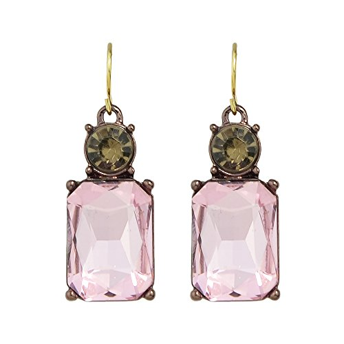 Feelontop Female Luxury Boho Antique Gold Colored Square-cut Crystal Drop Earrings with Jewelry Pouch (pink)