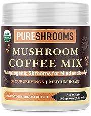 PureShrooms Mushroom Coffee with Lion's Mane, Reishi & Cordyceps - 50 Servings - Focus, Stress Relief, Energy & Immunity - Keto Friendly (Adaptogenic Coffee, 100 Grams, Made in Canada)