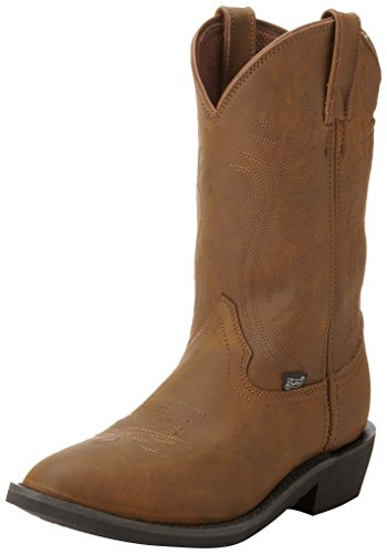 Justin Boots Men's Farm and Ranch Boot Medium Round Toe Rubber Utility Outsole,Crazy Cow,13 D (Justin Mens Roper)