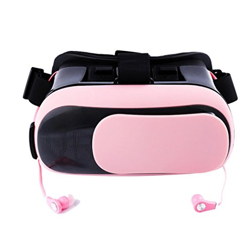 (Sunbona 3D VR II Box Virtual Reality Glasses With Adjustable Helmet Headset for 3D Movies Games for iPhone 7 Plus/ 6s Plus Samsung Galaxy Series and Other Smartphone (Pink))
