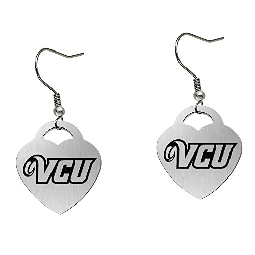 Virginia Commonwealth Rams Satin Finish Large Stainless Steel Heart Charm Earrings - See Model for Size Reference by College Jewelry
