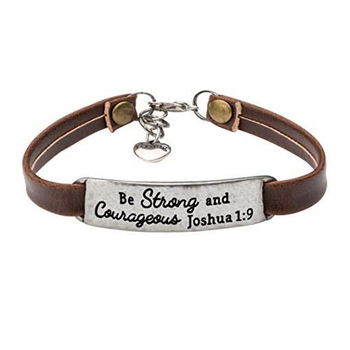 Encouragement Christian Jewelry Brown Leather Bracelet Bible Verse Saying Be Strong and -