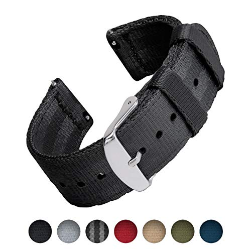 Archer Watch Straps Seat Belt Nylon Quick Release Watch Bands (Black, 22mm)