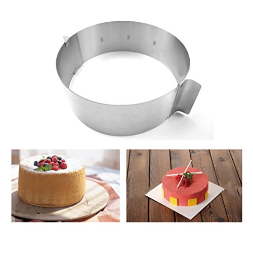 Adjustable Circle Cake Mold 6-12'' Stainless Steel Cake Mousse Round Baking,Non-Stick Baking Pastry Tools, Resistant Low and High Temperature, Easy to Use and Clean Gessppo by Gessppo_Cake Mold (Image #6)