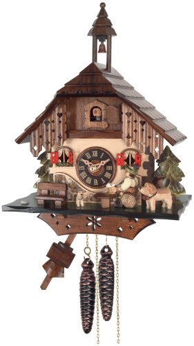 River City Clocks One Day Cottage Cuckoo Clock, Beer Drinker Raises ()