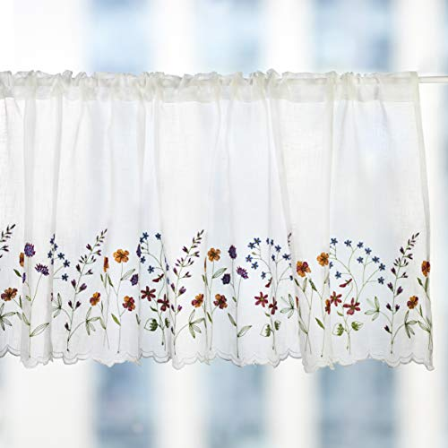 WEMAY Sheer Embroidery Pastoral Style Cafe Curtain Kitchen Curtain Floral Window Valance,W60XL18 inch (Wild ()