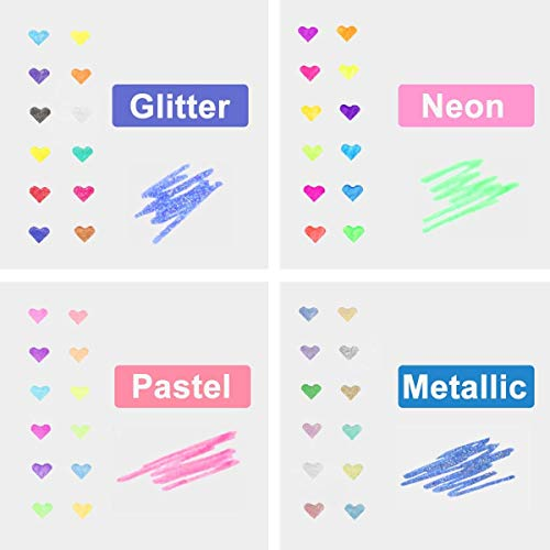Marte Vanci Pop Gel Pens 48 sets Fashion Candy Multicolored Metallic Neon Pastel Glitter Sparkly Pens Smooth Anti Skip for Students and Adults Writing Painting and Book Scraping