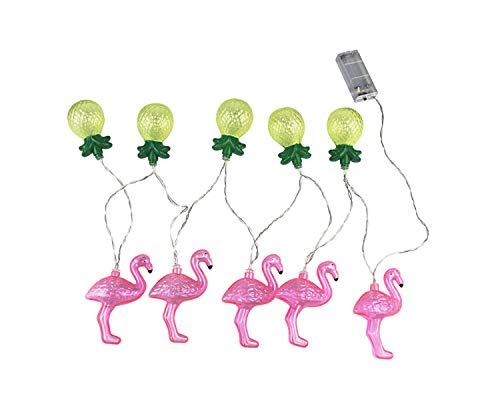 YouShe 5.4Ft Decorative LED String Lights Tropical Style Flamingo and Pineapple Fairy with 10 PCS Lamp Beads for Graduation Party Home Garden Wedding Indoor/Outdoor Decoration, Battery Powered ()