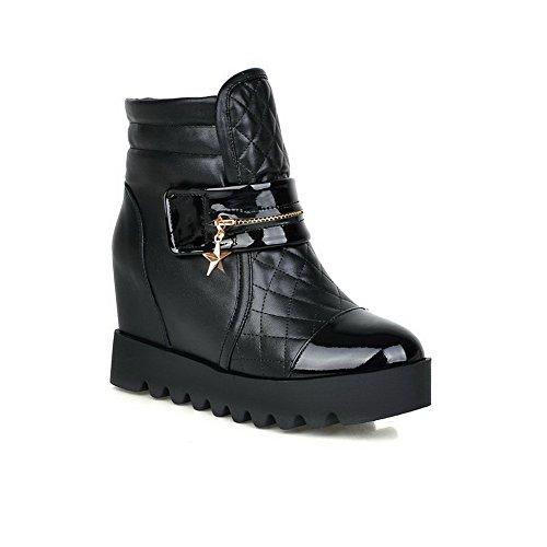 AllhqFashion Mujeres Cuña Caña Baja Sólido Velcro Botas con Metal Negro