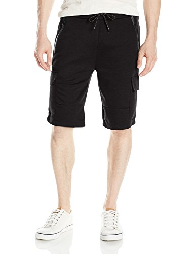Shorts Southpole Bermuda (Southpole Men's Tech Fleece Basic Shorts In Solid Colors , Black, LARGE)