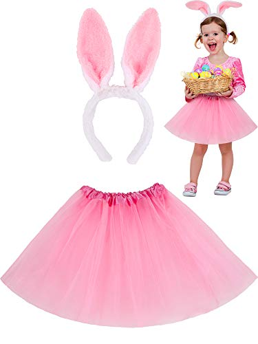 Zhanmai Easter Costume Accessories Set, Tutu Skirt and Bunny Ear Headbands for 2 to 8 Years Old Toddler Girls (Pink)