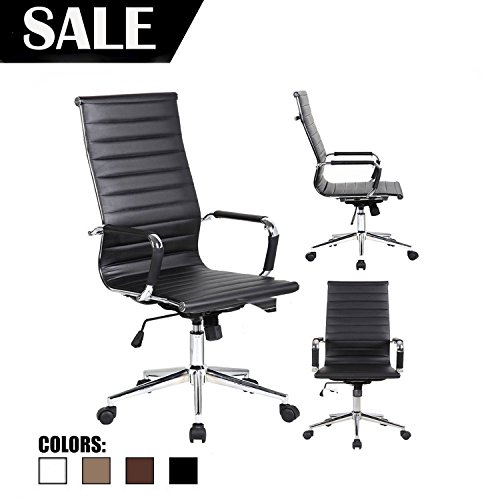 2xhome - Designer Boss PU Leather with Arms Wheels Swivel Tilt Adjustable Executive Manager Mid Century Office Chair High Back Ribbed Modern Work Task Computer Black Desk Chair for Tall (Boss High Back Swivel)
