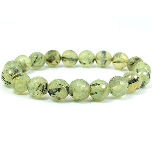 Reiki Crystal Products Epidot Bracelet Diamond Cut 8 mm for Reiki Healing Crystal Bracelet for Unisex (Color : Green)