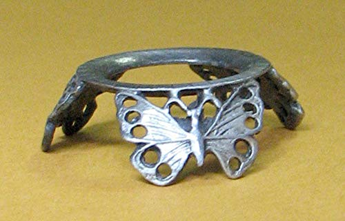 Pewter 3 Butterfly Hen Egg Stand Holder Display, Pysanka Stand Holder Display