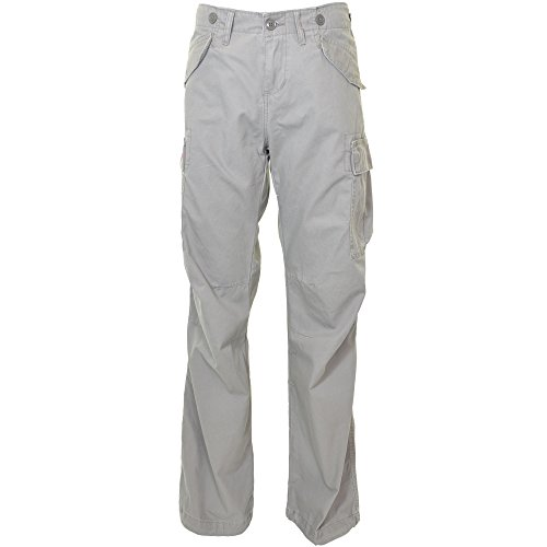 Molecule Women's Jungle Jeans Relaxed Fit Mid Rise Grey Cargo Pants | USA 10/L (Tag 2XL) Sunset Shadow Grey