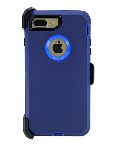 WallSkiN 1227jllqq Turtle Series Cases for iPhone 7 Plus/iPhone 8 Plus (Only) Full Body Protection with Kickstand & Holster - Midnight (Navy Blue/Blue)