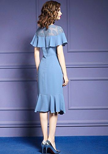 Women`s Cotylédons Ramassent Des Robes De Cou Mince En Forme De Robe De Couleur Unie