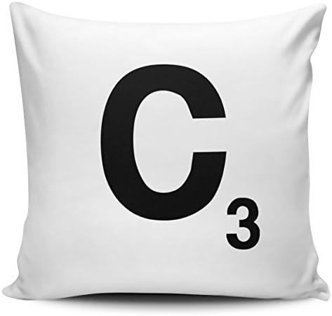 Diseño de letra Scrabble funda para cojín - letra C en interior y exterior/interior: Amazon.es: Jardín