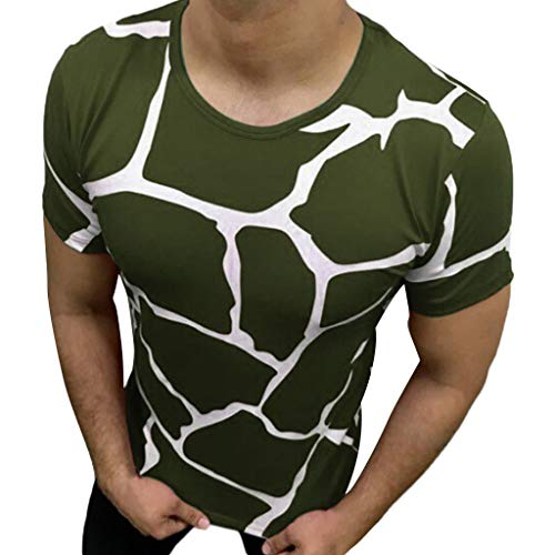 (Men Shirt ,Casual Summer Crack Pattern Short Sleeve O-Neck Tops)