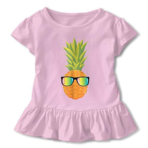 GUFEIFEIN Hawaiian Pineapple with Sunglasses Toddler Baby Girls T Shirt Cotton Ruffle Short Sleeve Solid Infant Tee ()