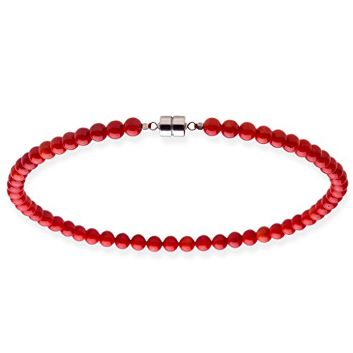Sterling Silver 34.72 ct. Round Coral Bead Necklace 18