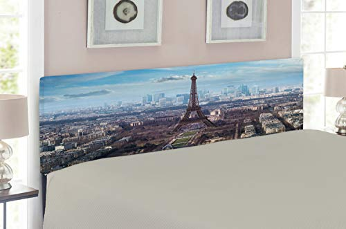 Ambesonne Eiffel Tower Headboard for Full Size Bed, Aerial View of Eiffel Tower Clear Day Boulevard Busy Town Park Skyscrape, Upholstered Metal Headboard for Bedroom Decor, Pale Blue Brown