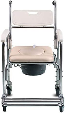 ZRLunyi Medical Commode Toilettensitz Duschrollstuhl mit feststellbaren Rollen Hochwertiger, komfortabler, langlebiger...