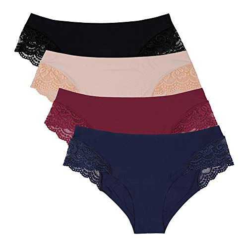(Womens Bikini Panties Lace Trim Hispter Botton Briefs 4 Pack Multicoloured)