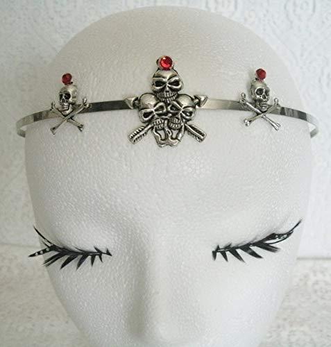 Skull Circlet handmade jewelry gothic fantasy headpiece goth rockabilly steampunk halloween pirate]()