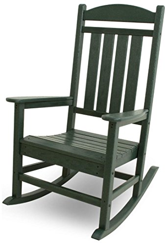 Premium Quality Patio Outdoor/Indoor Rocking Chair Wooden Furniture Chairs For Porch, Garden Deck, Beach Side And All Weather Seasons (Green)