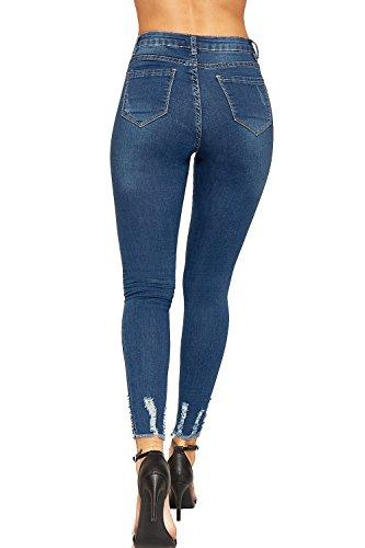 Bleu Ripped Afflig fonc Dames 34 42 De Femmes Cheville tendue Jeans Toile WearAll Jean Maigre Jambe Poche ZTw1qxw