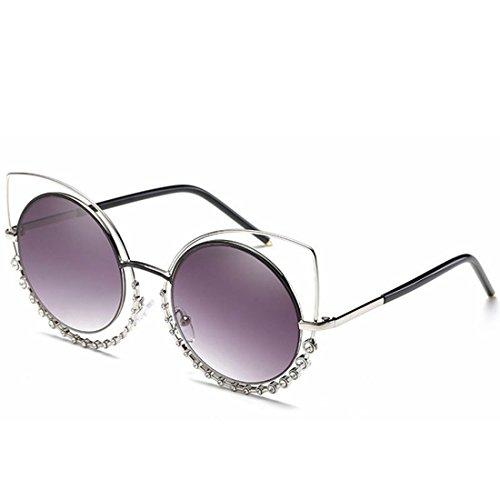 Gold Lens Eyes Femmes Cat's purple Igspfbjn Lunettes Silver Diamond De Soleil Pour Avec tea Frame Lens color Frame w8wxvT