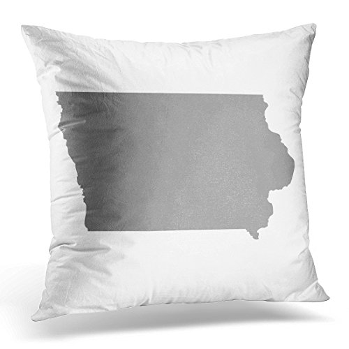 UPOOS Throw Pillow Cover Gray Outline Map of the U State Iowa Abstract America Decorative Pillow Case Home Decor Square 18x18 Inches Pillowcase