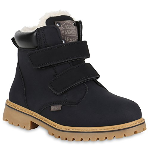Stiefelparadies Kinder Mädchen Jungen Stiefeletten Worker Boots Warm Gefüttert Profilsohle Schuhe Flandell Schwarz Carlet