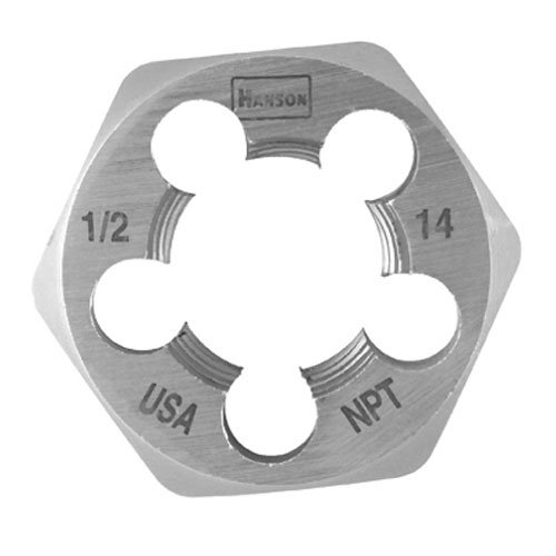 Hanson 7005 High Carbon Steel Hexagon Taper Pipe Die 1-7/16'' Across Flat Die 1/2''-14 NPT by Irwin Tools