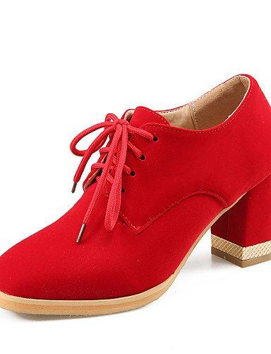 ZQ hug Zapatos de mujer-Tacón Robusto-Tacones / Punta Redonda-Tacones-Oficina y Trabajo / Vestido / Casual-Semicuero-Negro / Azul / Rojo , red-us10.5 / eu42 / uk8.5 / cn43 , red-us10.5 / eu42 / uk8.5 black-us5.5 / eu36 / uk3.5 / cn35
