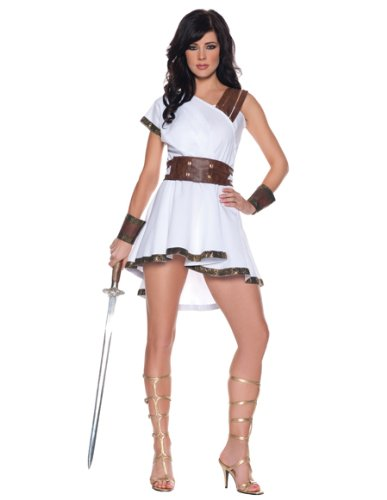 Women's Sexy Gladiator Costume - Olympia, White/Brown, Small (Roman Goddess Costume)
