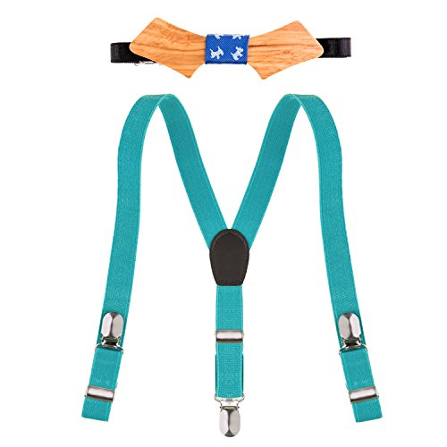 Ava & Kings 2pc Children's Wood Bow Tie & Y-Back Suspender Set - Blue]()