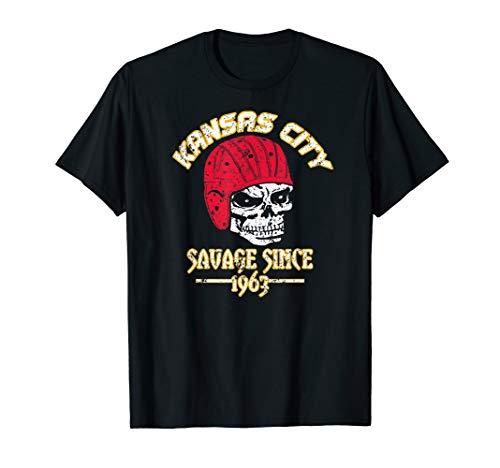 Kansas City Since 1963 Savage Skull Throwback Football Tee T-Shirt