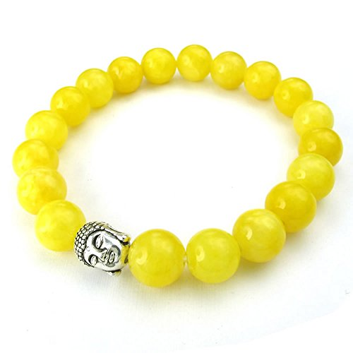 Gemstone Yellow Bracelet (KONOV Natural Energy Stone Beads Gemstone Mens Womens Bracelet, 10mm Buddha Mala, Yellow Silver)